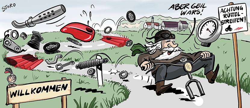 Cartoon zu Rüttelstreifen. Ein Biker knattert mit seinem Motorrad über die Rüttelstreifen zur Geschwindigkeitsbegrenzung und verliert unterwegs, Auspuff, Räder, Stoßdämpfer.