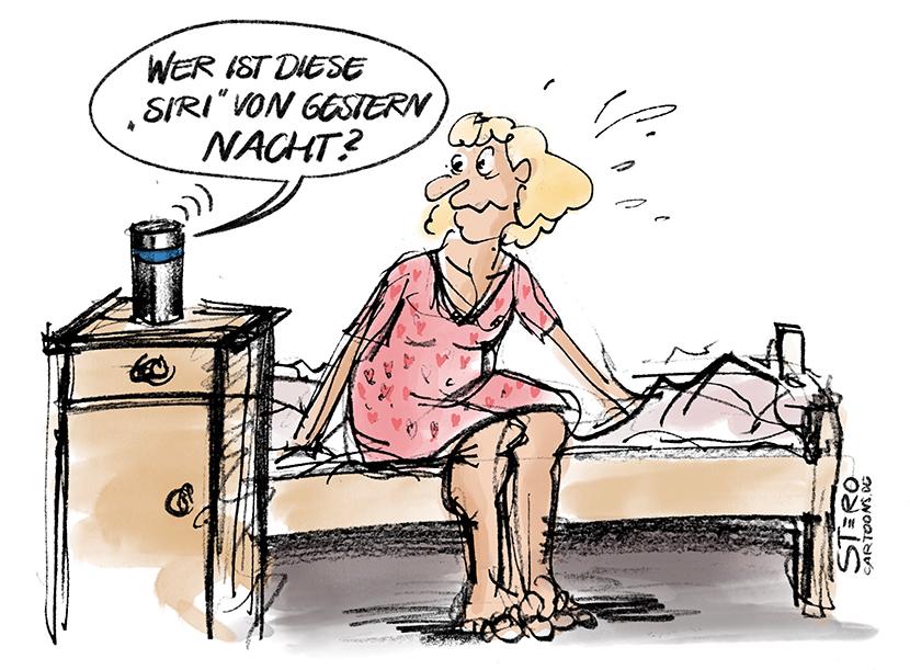 Cartoon zus Sprachsteuerung und Eifersucht. Eine Frau sitzt an der Bettkante und wird von Alexa gefragt: Wer ist diese Siri von gestern Nacht?