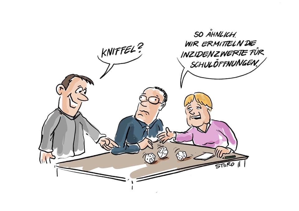 Cartoon zu den Schulöffnungen in der Coronapandemie: Merkel und SPahn sitzen am Tisch und würfeln die Inzidenzwerte aus.