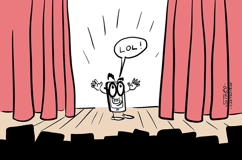 Cartoon zu Lockdown der Kultur während der Coronapandemie. Ein Handy steht auf der Bühne und macht eine Show für zuschauende Handys und Tablets.