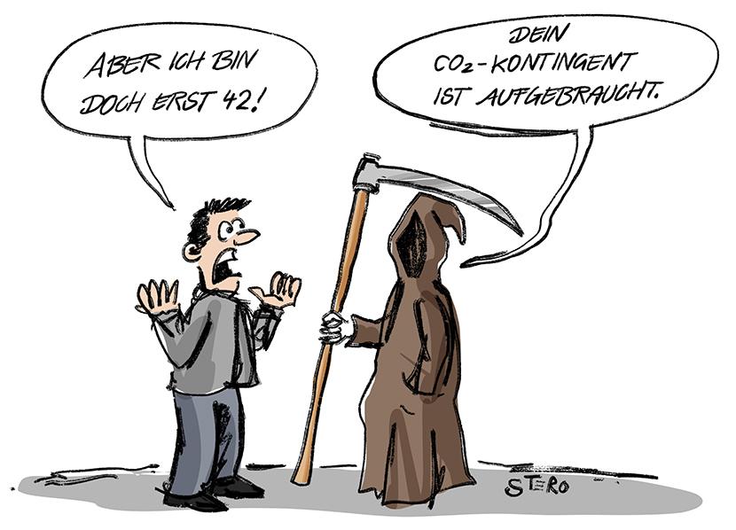 Cartoon zum Klimawandel und Co2-Emmisionen. Der Tod holt einen Menschen ab, weil der Mensch sein Co2-Kontingent aufgebraucht hat.