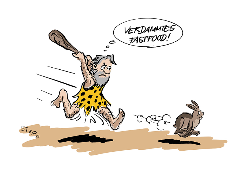 """Cartoon zu Jäger und Sammler. Ein Neandertaler jagt vergeblich einen Hasen und denkt""""Verdammtes Fast Food""""."""