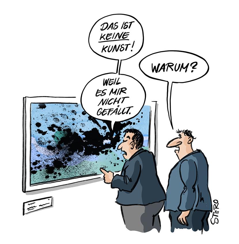 Cartoon zu Kunstkritik: Zwei Männer vor einem Gemälde: Ist es nur Kunst, wenn es gefällt?