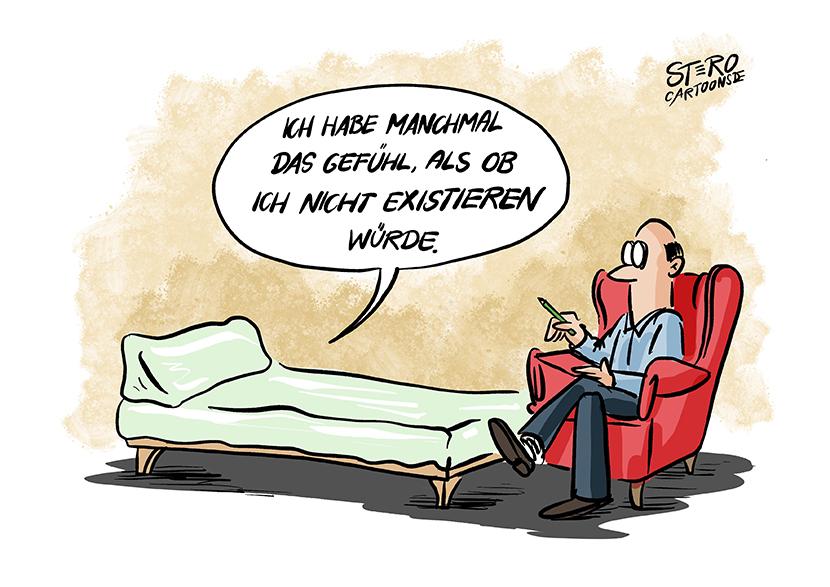 Cartoon Comic zur Psychotherapie: Manchmal komme ich mir vor, als würde ich nicht existieren.