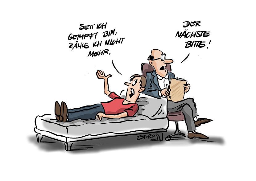 cartoon zu coronaimpfungen: ein mann beim therapeuten sagt: seit ich geimpft bin, zähle ich nicht mehr.