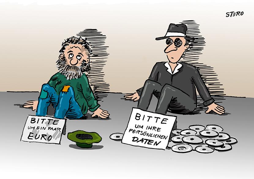Cartoon zu Datenschutz: Ein Bettler sitzt auf dem Boden und bettelt um ein paar Euro. Neben ihm bettelt ein Datensammler Datenkrake um persönliche Daten.