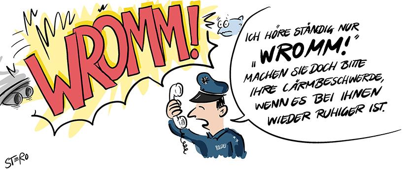 """Cartoon-Comic zu Läermbelästigung und Ruhestörung: Ein Anwohner beschwert sich bei der Polizei, doch die kann vor lauter Lärm nichts hören und sagt: """"Rufen Sie wieder an, wenn es bei Ihnen leiser  ist."""""""