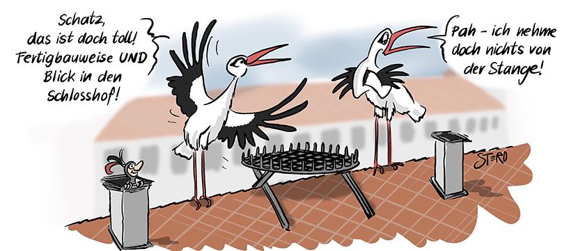 Cartoon-comic-zu fertighaus und fertigbauweise. Ein Storchenpaar will das gebaute Nest beziehen. Doch sie sagt. Ich nehm doch nichts von der Stange.
